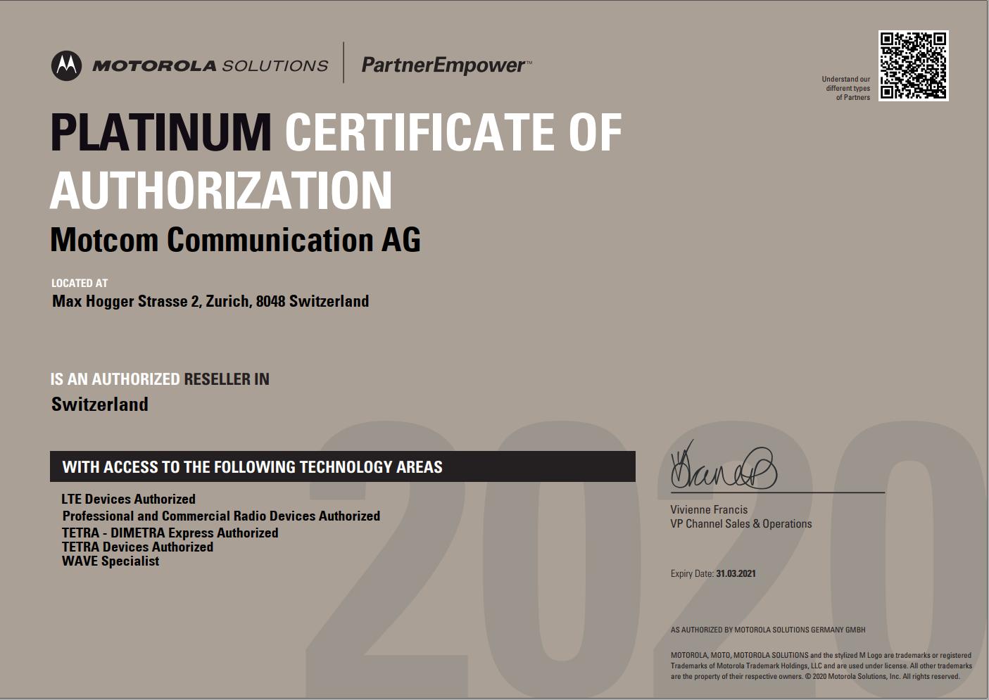 Motorola Platinum Partner Zertifikat