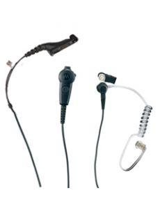 Tarnmikrofon kombiniert mit PTT-Taste und Ohrhörer mit Spiralschlauch/FBI - 2-Kabel/schwarz
